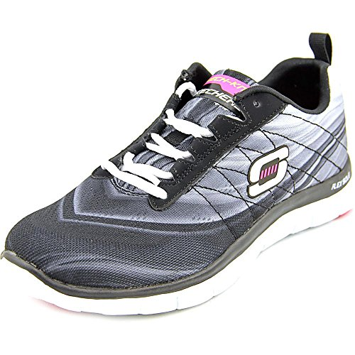 Skechers Sport Donna Abbastanza Per Favore Flex Appeal Fashion Sneaker Nero / Bianco