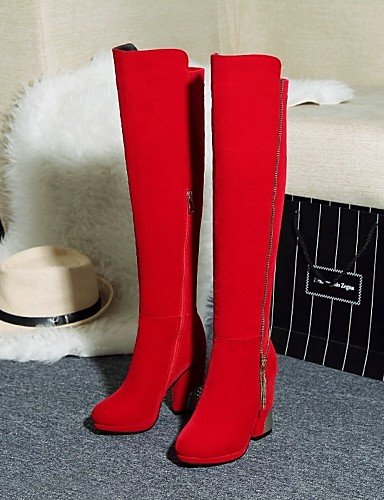 Uk8 Xzz Eu42 Punta Moda Tacón 5 Red A 5 Uk2 5 Redonda Zapatos Eu34 Negro us10 De Robusto Mujer Cn43 5 2 4 Rojo La Vellón Red us4 Botas Cn33 Casual Vestido qXRrqw