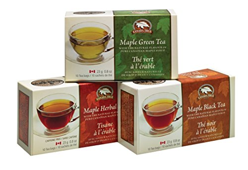 Canada True Assorted Maple Teas (Maple Black, Maple Green, Maple Herbal) 30 Pack with Natural Flavour of Canadian Maple Syrup