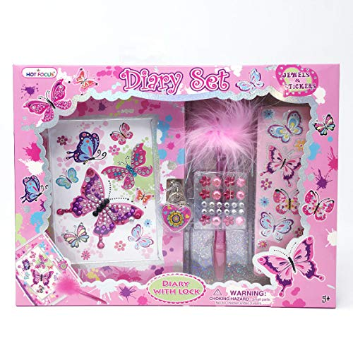 Kids Butterfly Diary - Hot Focus Paradise Diary Set with 3D Stickers