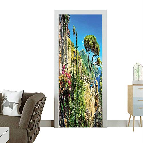 Homesonne 3D Photo Door Murals Cute St Made Village Blossoms Flower Mountain and Sea Easy to Clean and applyW36 x H79 INCH