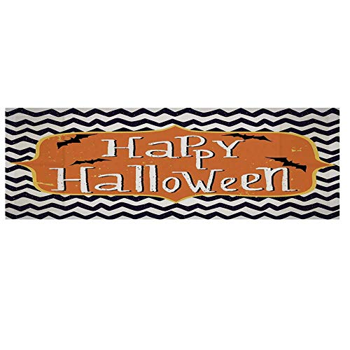 Halloween Cotton & Linen Microwave Oven Protective Cover,Cute Halloween Greeting Card Inspired Design Celebration Doodle Chevron Decorative Cover for Kitchen,36