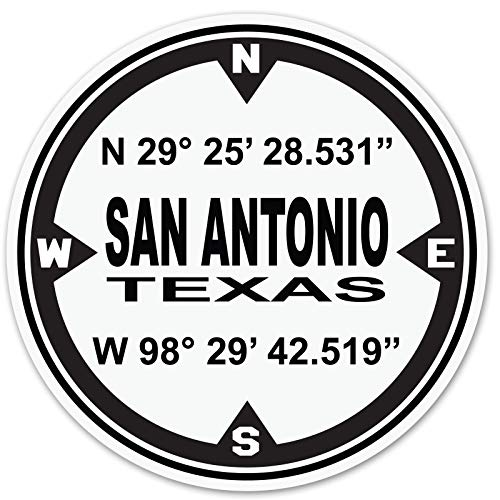 D.M.S. Coordinants San Antonio Texas - 3 Inch Black and White Decal for Stainless Steel Tumbler - Proudly Made In The USA From Adhesive Vinyl (Tumbler NOT included)