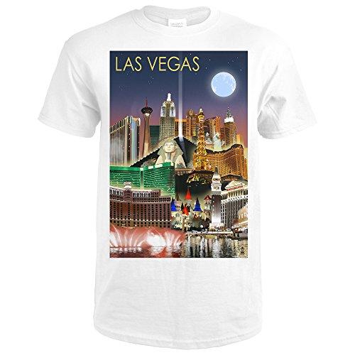 Las Vegas, Nevada - Las Vegas at Night (Premium White T-Shirt - Las At Caesars Vegas Shops