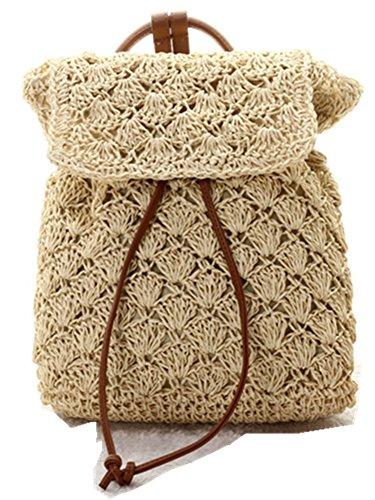 Skyseen Womens Rattan Straw Woven Braid Backpack Beach Bag Casual Knapsack