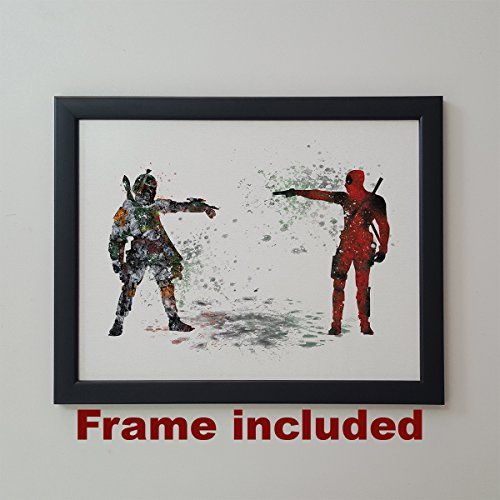 Star Wars Deadpool vs Boba Fett Bounty Hunter 11 x 14 inches Framed Poster