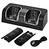 Skque USB Powered Dual Charging Station Dock Stand and 2 Batteries for Nintendo Wii, Black