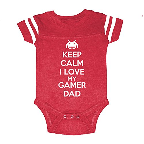 LOL Baby! Keep Calm I Love My Gamer Dad Baby Football Jersey Bodysuit (Vintage Red, 24 Months)