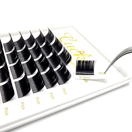 Cuckoo Split Natural Black Ellipse Flat Eyelash Extension 0.20MM Thickness D Curl 11MM Subsection Professional Individual Eyelashes Faux Mink Eyelashes 4 Parts Per Strip - Ellipse Natural
