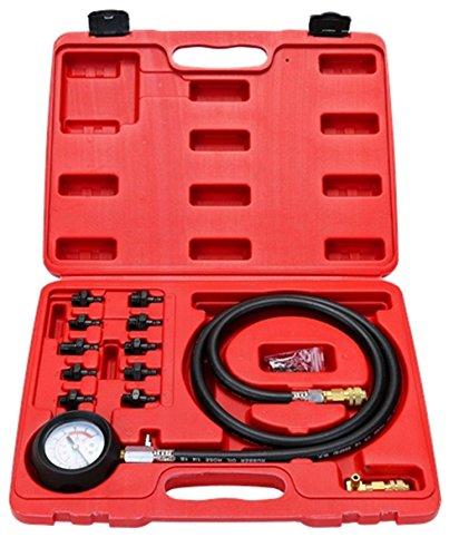 Oil Fitting Gauge (WIN.MAX 12 Pc Engine Oil Pressure Tester Gauge Diagnostic Test Kit w/10 Fittings 140 PSI)