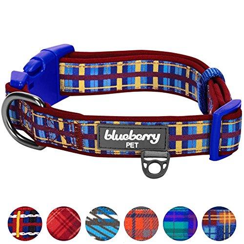 Blueberry Pet 7 Patterns Soft & Comfy Scottish Adventure Madison Stripes Designer Padded Dog Collar, Large, Neck 18