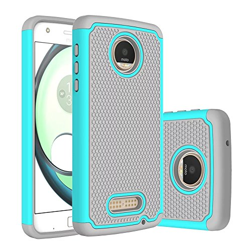 Moto Z Force Case,Berry Accessory [Drop Protection] Protective Case [Shock Proof] [Dual Lawyer] Hybrid Defender Armor Case Cover For Moto Z Force With Free Berry logo stand holder (Teal)
