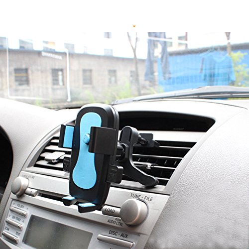Cell Phone Holder for Car, iBarbe Car Phone Mount Air Vent, One Touch and Auto-Clamping for iPhone X 8/8s 7 Plus 6s Plus 6 SE Samsung Galaxy S8 Edge S7 S6 Note 8 5 and More Smartphone- Blue (Lcd Front Razr)