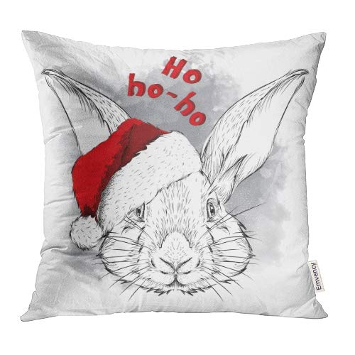 Emvency Decorative Throw Pillow Covers Cases Bunny The Christmas Rabbit Portrait in Santa Hat Sketch Vintage Whiskers Black 18x18 Inch Case Cover Cushion Two -