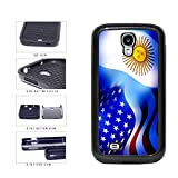 Argentina and USA Mixed Flag 2-Piece Dual Layer Phone Case Back Cover Samsung Galaxy S4 I9500 includes BleuReign(TM) Cloth and Warranty Label