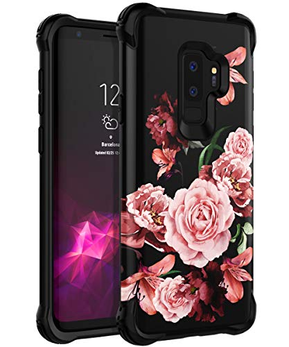 TIANLI Samsung Galaxy S9 Plus Case Dual Layer Beautiful Flowers Women/Girls Shockproof Protection Slim Smooth Protective Floral Cover - Black