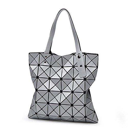 Bolso Geométrico Para Mujer Bolsa De Diamantes Plegable Tendencia Del Bolso Del Bolso De Hombro,Silver