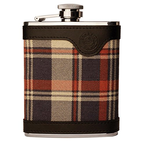 Savage 18/8 Stainless Steel 6oz Hip Flask Covered with Check Scotland Cloth/Genuine Leather Rmf-37 ()