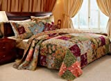 5pc French Country Patchwork Cotton Quilt Set Full/Queen + Pillows - Includes Bed Sheet Straps