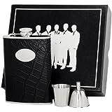 Visol VSET62-1215 Noir Leather Groomsmen II Flask Gift Set, 8-Ounce, Black