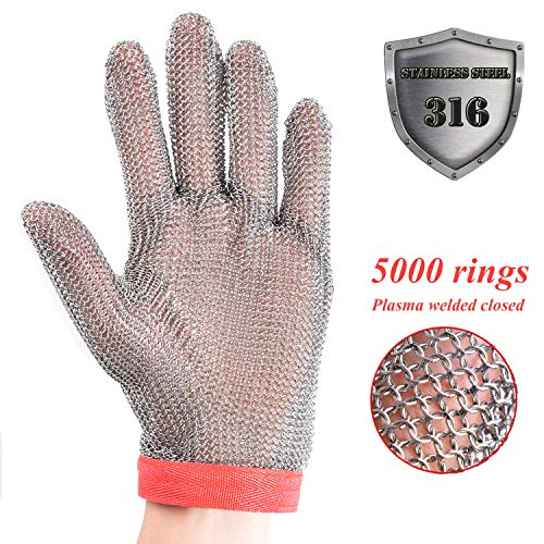Stainless Steel Mesh Cut-resistant Glove - Chain Mail Glove for Hand Protective, Safety Glove for Home Kitchen, Butcher, Oyster, Garment. Fish Worker (Medium) by HANDSAFETY (Image #2)