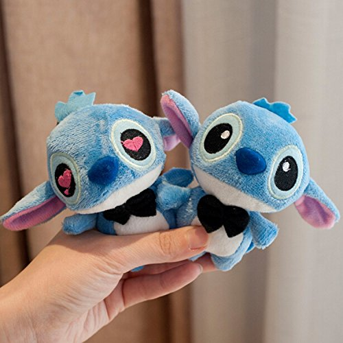 Softest Toy Bow (2pcs/pair Kawaii 11CM LOVERS LILO and Stitch Plush Stuffed TOY Phone Charm Strap BAG Key Chain Pendant TOY Wedding Bouquet TOY)