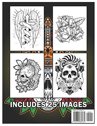 Tattoo Coloring Book: An Adult Coloring Book with Awesome and Relaxing Tattoo Designs for Men and Women Coloring Pages