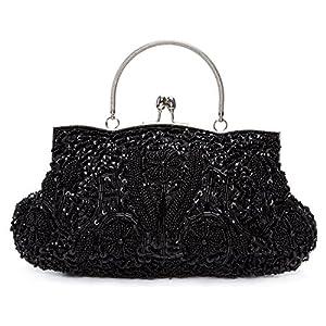 Kisschic Vintage Beaded Sequin Design Clutch Purse Evening Bag (Black)