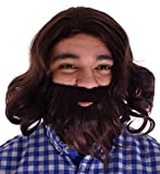 Simplicity Jesus Brown Full Wavy Wig With Beard Set and Free Wig Cap