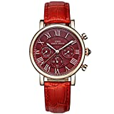 IBSO Women Brand Luxury Wristwatches Ladies Calendar Week Display 24 Hours Chronograph Analog Quartz Watches Red