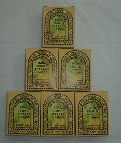 Indian Temple Incense - Song of India Temple Cone Incense, 6 x 25 Cone Pack, 150 Cones Total