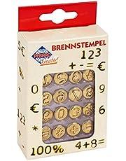 Brandstempel voor brandschilderen, 16-delig, van messing, cijfers 0-9 en speciale tekens, voor het branden op hout, leer, kurk en andere materialen.