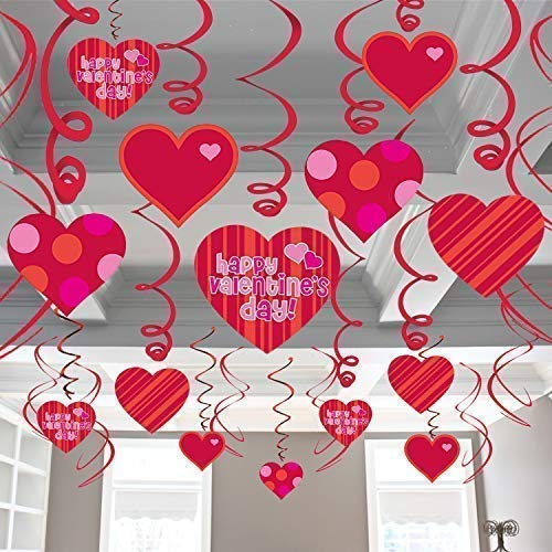 Valentines Decorations Hanging Heart Swirls - Pack of 46 | Valentines Day Decorations - Valentine's Day Hanging Heart Decorations for Ceiling and Windows - Bridal Shower - Valentines Day Party -