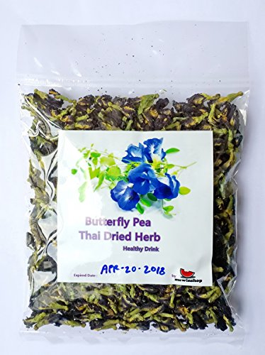 (1 Pack mewinshop Butterfly Pea Flower Healthy Thai Dried Herb Tea Drink Blood Health ORGANIC Natural Blue Eye Food Pure 50g Coloring Cooking)