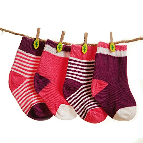 Cap Booties (FQIAO Soft And Warm Autumn and Winter Unisex Baby Socks Cute Thick Stretchable 4 Pack Gift for Newborn And Baby 1-6 Months)
