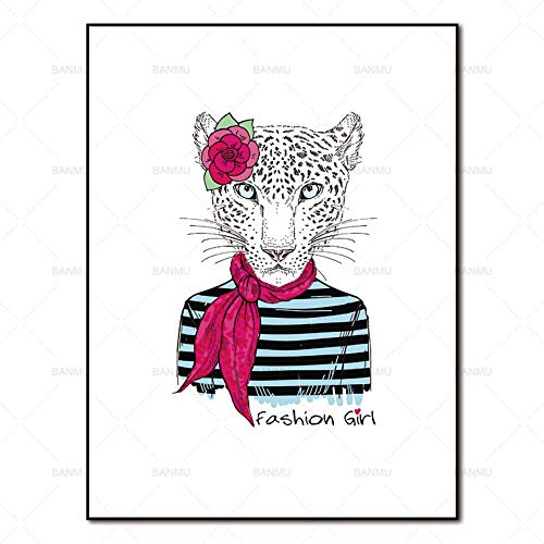 TLLZSH Wall Poster Canvas Painting Pictures Abstract Painting Art Prints Cartoon Animals On Canvas Home Decoration for Living Room(Miss Leopard) 50×70Cm