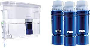 PUR Ultimate 18-Cup Water Filter Dispenser with Lead Reduction Filter, White & Water Pitcher Replacement Filter with Lead Reduction, 3 Pack, Blue