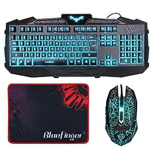 bluefinger gaming keyboard and mouse combo 3 color adjustable led backlit usb wired. Black Bedroom Furniture Sets. Home Design Ideas