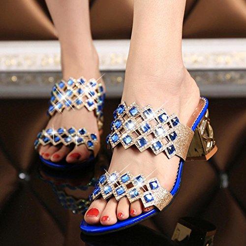 Omiky® Mode Sommer Neue Große Strass High Heel Sandaletten Strand Sandale Schuhe Blau