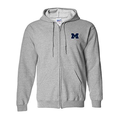 AZ07 - Michigan Wolverines Primary Logo Left Chest Full Zip Hoodie - X-Large - Sport Grey (Hoodie Hooded Sweatshirt Logo Shirt)