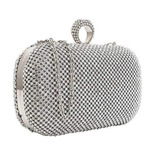 Silver Rhinestone Dinner Purse Evening Evening Bags Women's Clutch Handbags Wedding TWz1fq6