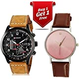 Talgo Curren Collection Festive Season Special Black Round Dial Brown Leather Strap Party Wedding | Casual Watch | Formal Watch | Fashion Wrist Watch For Boys and Men - Curren M-8152 | Buy 1 Get 1 Single Diamond Brown Watch for Women absolutely Free | Jumbo Offer