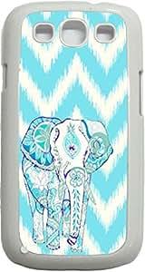 Tribal Elephant on Bright Blue Ikat Chevron- Case for the Samsung Galaxy S3 i9300 -Hard White Plastic Case