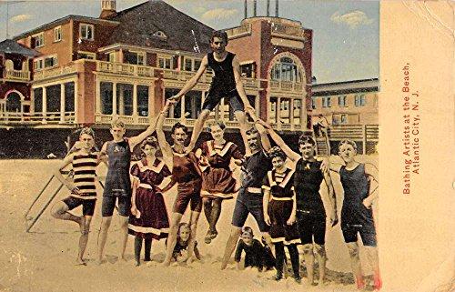 atlantic-city-new-jersey-bathing-artists-beach-acrobats-antique-postcard-k34817