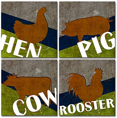 LoveHouse Farmhouse Animal Wall Art for Kitchen Room Rustic Pig Hen Rooster Cow Abstract Prints Artwork Dinning Room Canvas Decoration Gallery Wrap Stretched Ready to Hang 12x12inchx4pcs