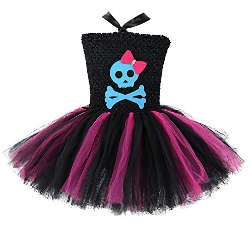 Tutu Dreams 80s Rock Star Costume for Girls Skeleton Hot Pink Black Pop Punk Costumes Halloween Performance (L)]()