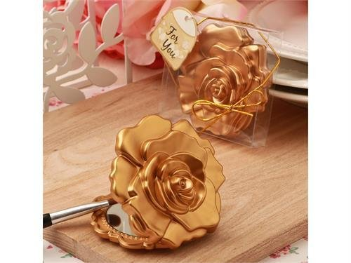 - Ornate matte gold rose design compact mirror (12 pieces)