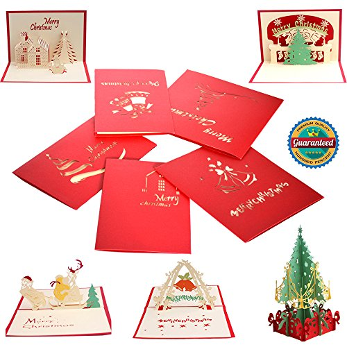 Giraffe 5pcs Handmade 3D Pop Up Cards Set, Snowman/ Tree/ Reindeers/ Santa Claus and Bell Birthday Merry Xmas Thanksgiving Thank You Wedding Creative Greeting Holiday Cards Papercraft with Envelope