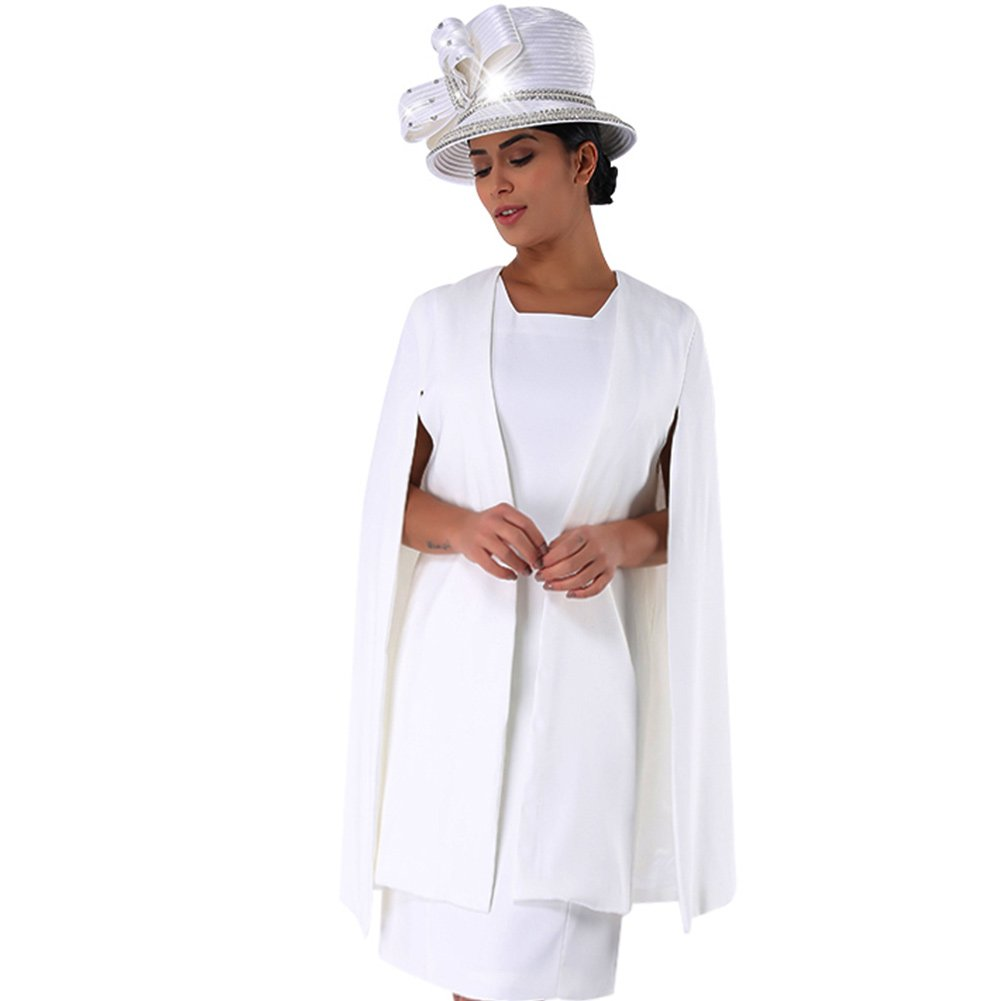 365b59b1c72 Kueeni Women Church Suits with Hats Special Occasion Wedding Party Ladies  Formal Clothes White  Amazon.ca  Clothing   Accessories
