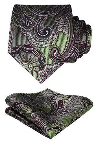HISDERN Extra Long Floral Paisley Tie Handkerchief Men's Necktie & Pocket Square Set (Olive Green & Burgundy)